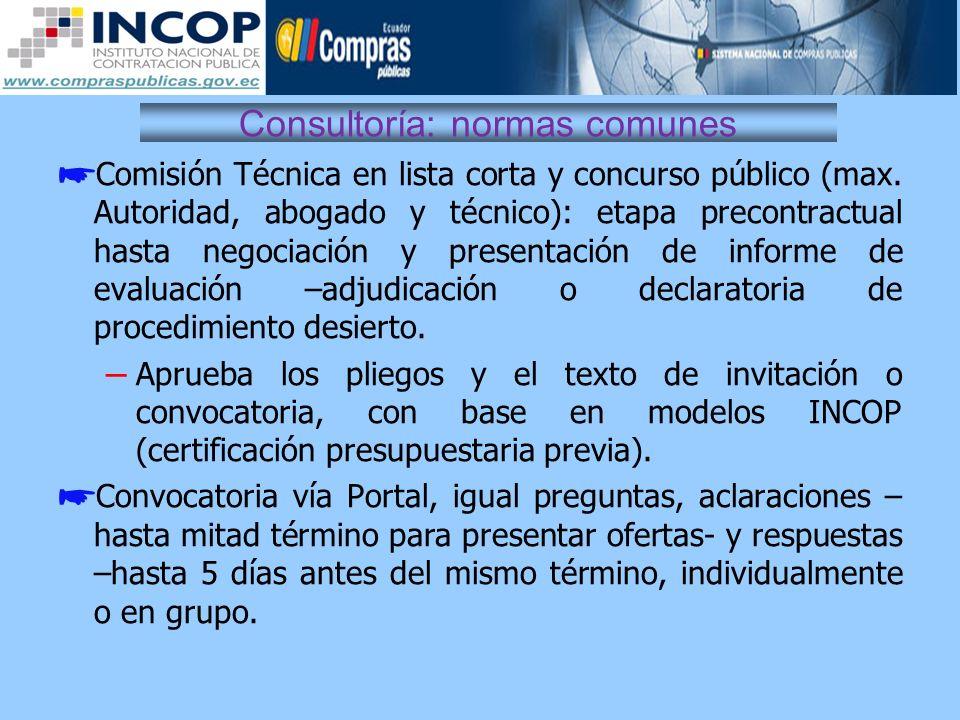 Consultoría: normas comunes Comisión Técnica en lista corta y concurso público (max. Autoridad, abogado y técnico): etapa precontractual hasta negocia