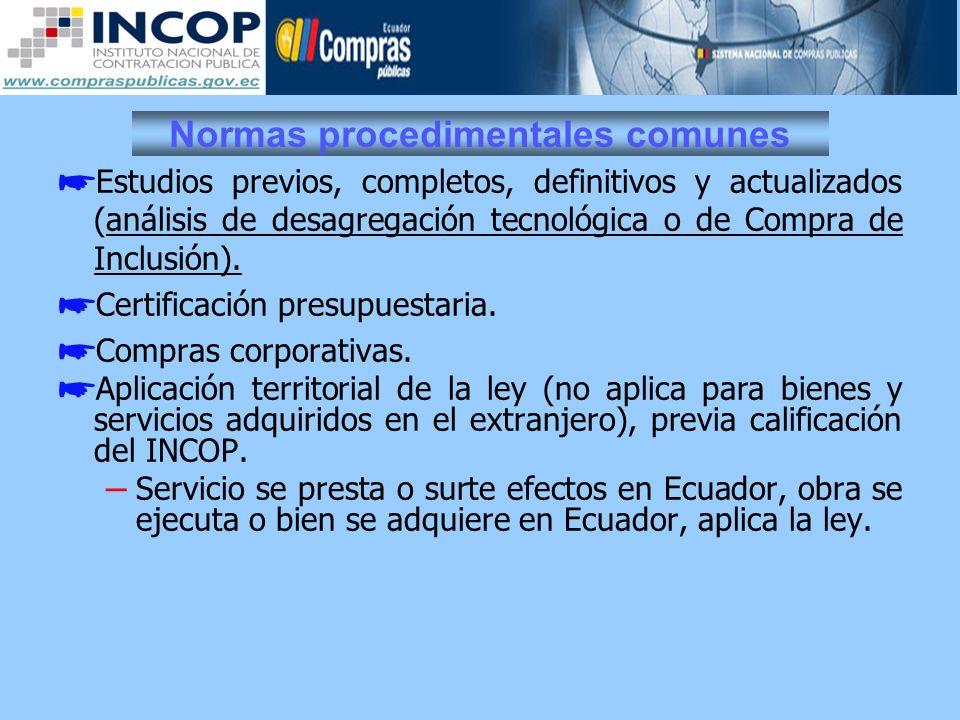 Normas procedimentales comunes Estudios previos, completos, definitivos y actualizados (análisis de desagregación tecnológica o de Compra de Inclusión