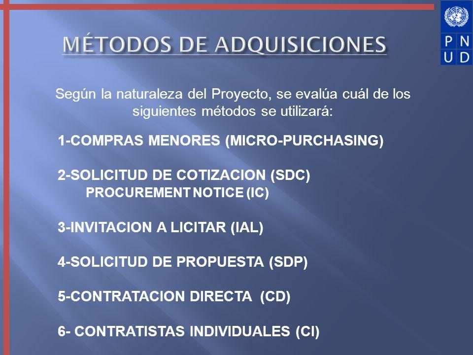 Según la naturaleza del Proyecto, se evalúa cuál de los siguientes métodos se utilizará: 1-COMPRAS MENORES (MICRO-PURCHASING) 2-SOLICITUD DE COTIZACIO