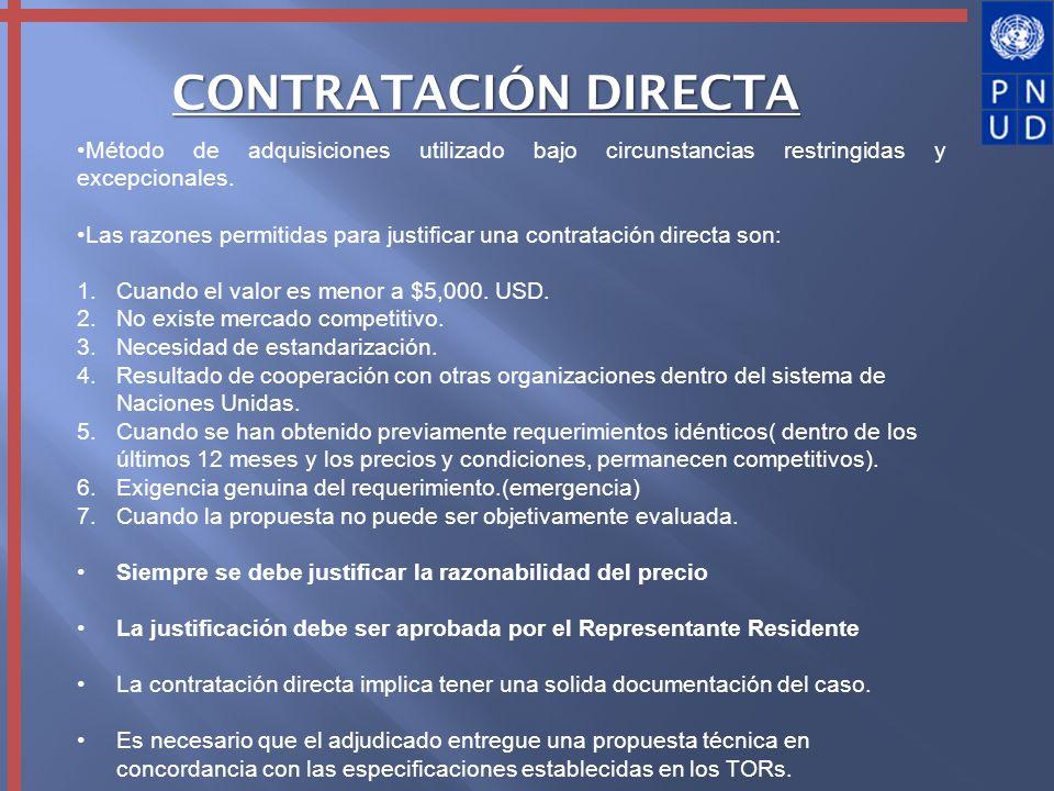 Método de adquisiciones utilizado bajo circunstancias restringidas y excepcionales. Las razones permitidas para justificar una contratación directa so