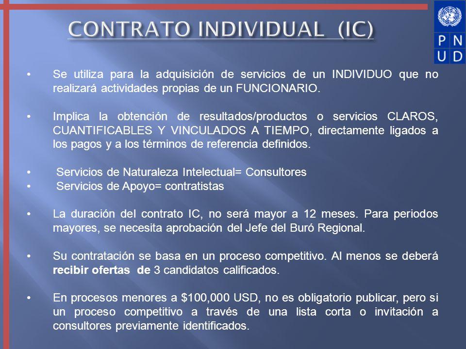 Se utiliza para la adquisición de servicios de un INDIVIDUO que no realizará actividades propias de un FUNCIONARIO. Implica la obtención de resultados