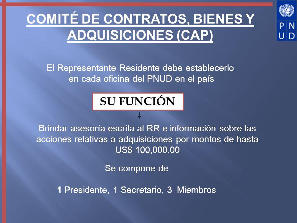 COMITÉ DE CONTRATOS, BIENES Y ADQUISICIONES (CAP) El Representante Residente debe establecerlo en cada oficina del PNUD en el país SU FUNCIÓN Brindar