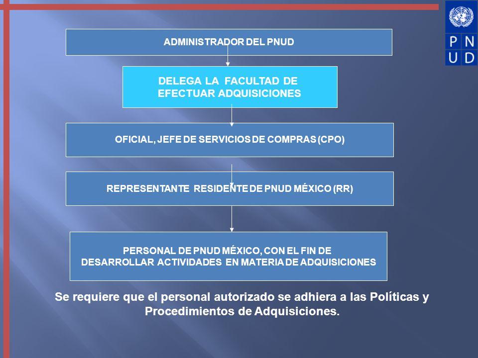 Se requiere que el personal autorizado se adhiera a las Políticas y Procedimientos de Adquisiciones. DELEGA LA FACULTAD DE EFECTUAR ADQUISICIONES PERS