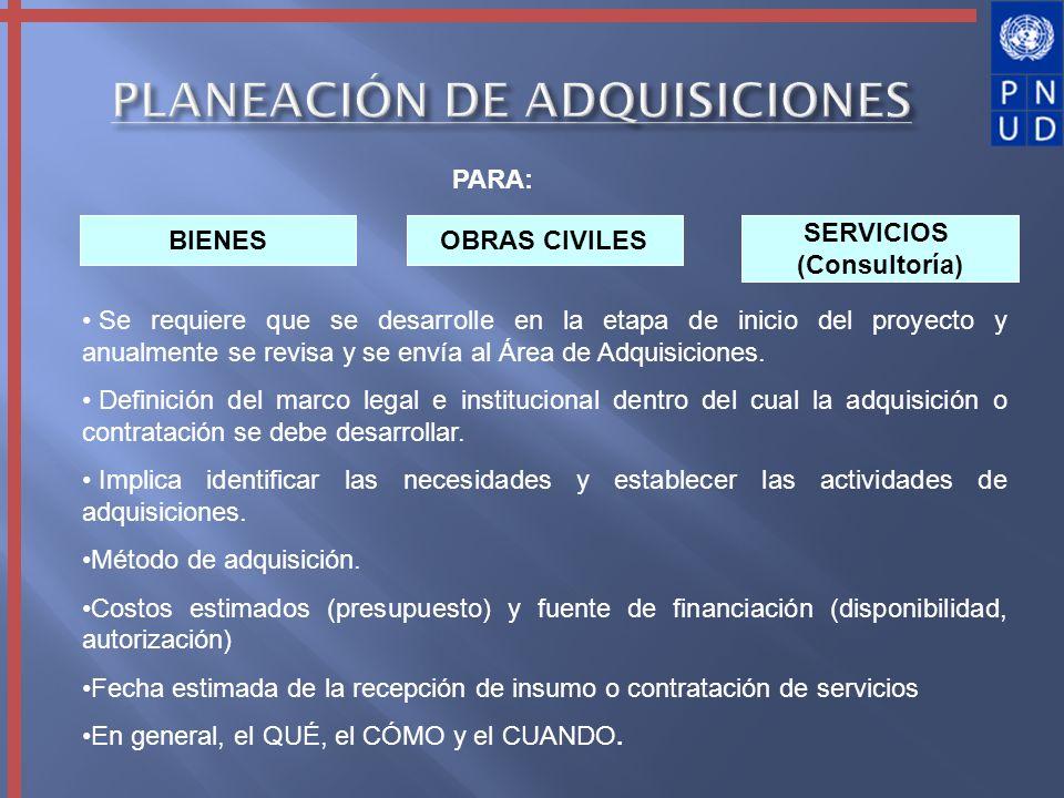 PLANEACIÓN DE ADQUISICIONES PARA: BIENES SERVICIOS (Consultoría) OBRAS CIVILES Se requiere que se desarrolle en la etapa de inicio del proyecto y anua