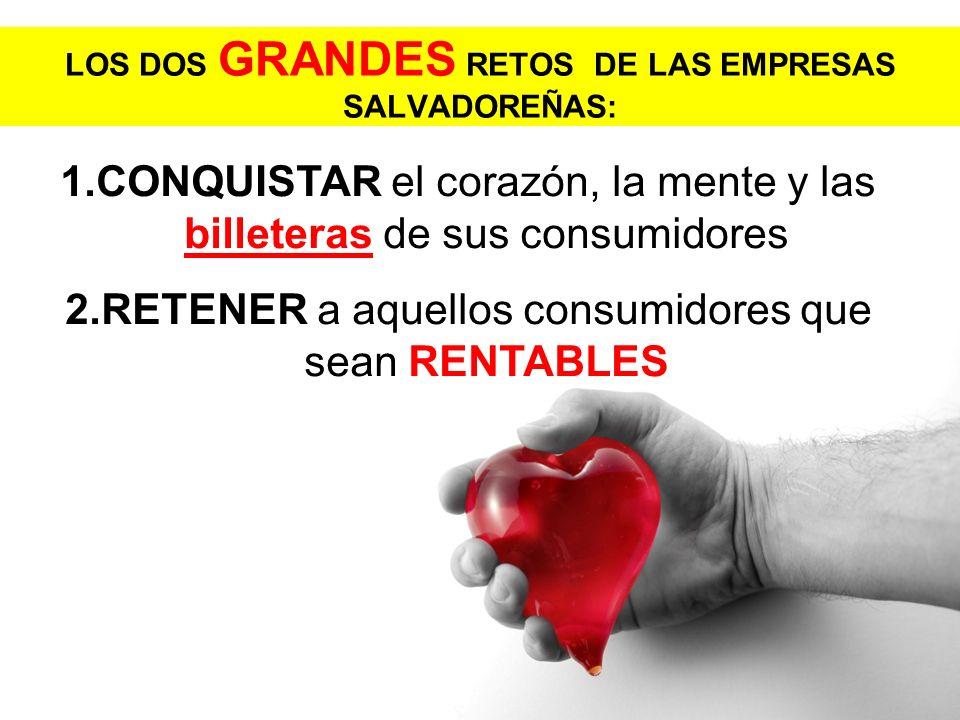 LOS DOS GRANDES RETOS DE LAS EMPRESAS SALVADOREÑAS: 1.CONQUISTAR el corazón, la mente y las billeteras de sus consumidores 2.RETENER a aquellos consum