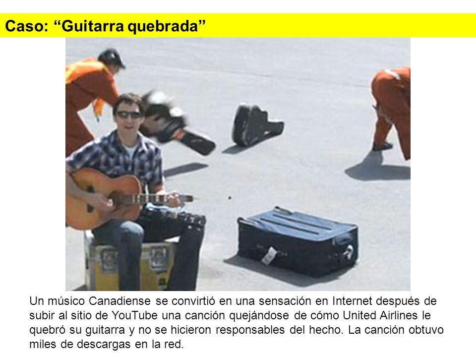 Caso: Guitarra quebrada Un músico Canadiense se convirtió en una sensación en Internet después de subir al sitio de YouTube una canción quejándose de