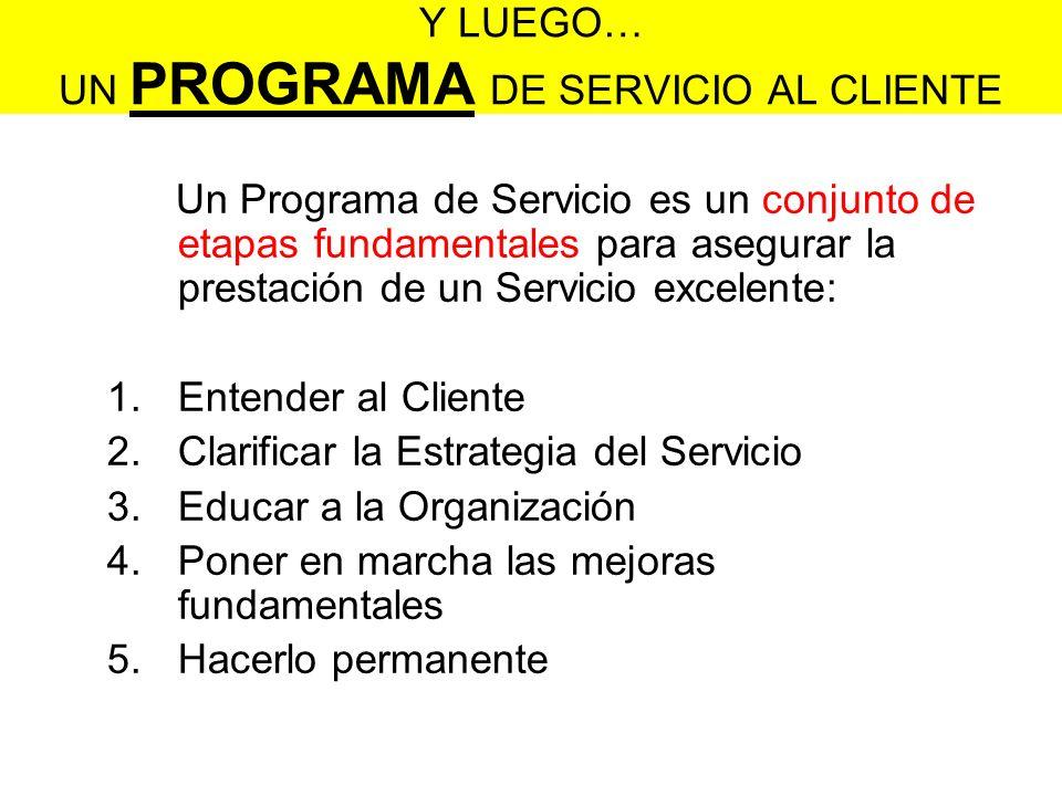 Y LUEGO… UN PROGRAMA DE SERVICIO AL CLIENTE Un Programa de Servicio es un conjunto de etapas fundamentales para asegurar la prestación de un Servicio