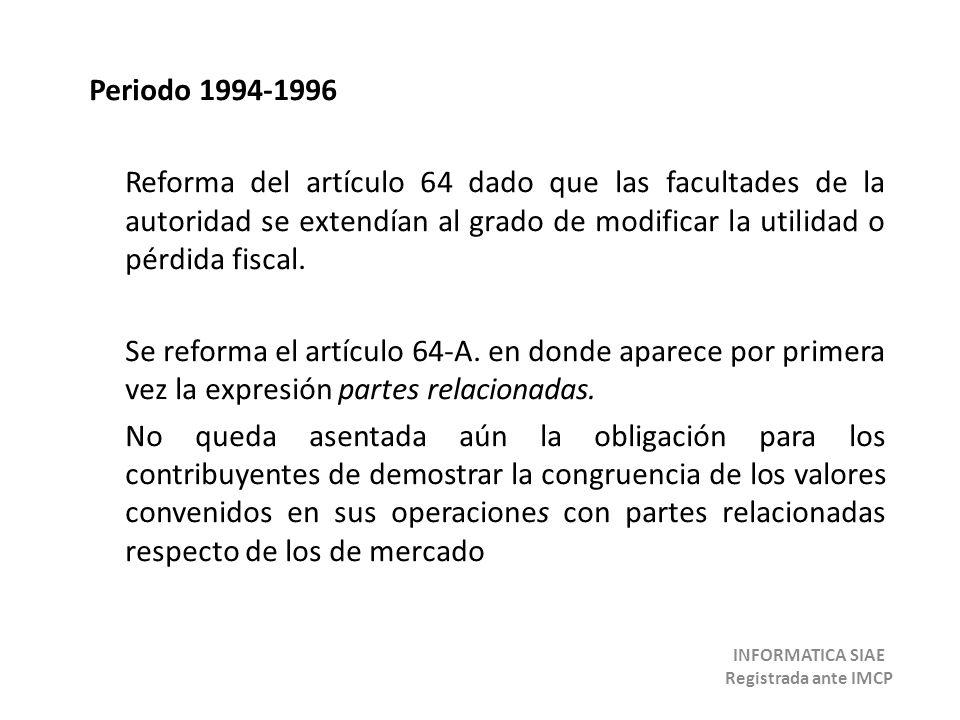 Periodo 1994-1996 Reforma del artículo 64 dado que las facultades de la autoridad se extendían al grado de modificar la utilidad o pérdida fiscal. Se