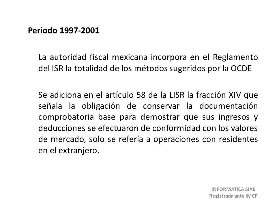Periodo 1997-2001 La autoridad fiscal mexicana incorpora en el Reglamento del ISR la totalidad de los métodos sugeridos por la OCDE Se adiciona en el