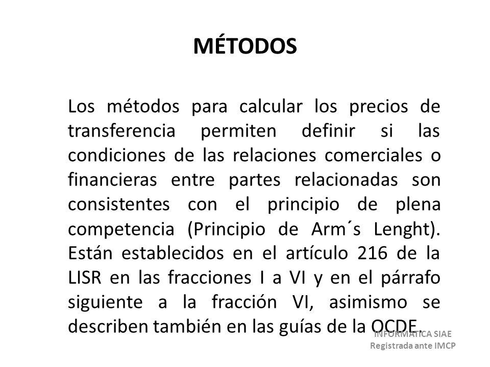 MÉTODOS Los métodos para calcular los precios de transferencia permiten definir si las condiciones de las relaciones comerciales o financieras entre p