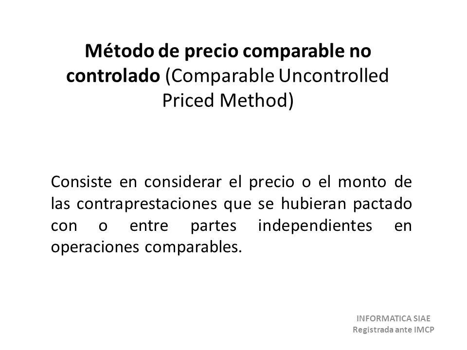 Método de precio comparable no controlado (Comparable Uncontrolled Priced Method) Consiste en considerar el precio o el monto de las contraprestaciones que se hubieran pactado con o entre partes independientes en operaciones comparables.