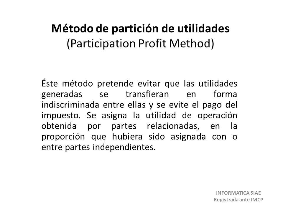Método de partición de utilidades (Participation Profit Method) Éste método pretende evitar que las utilidades generadas se transfieran en forma indis