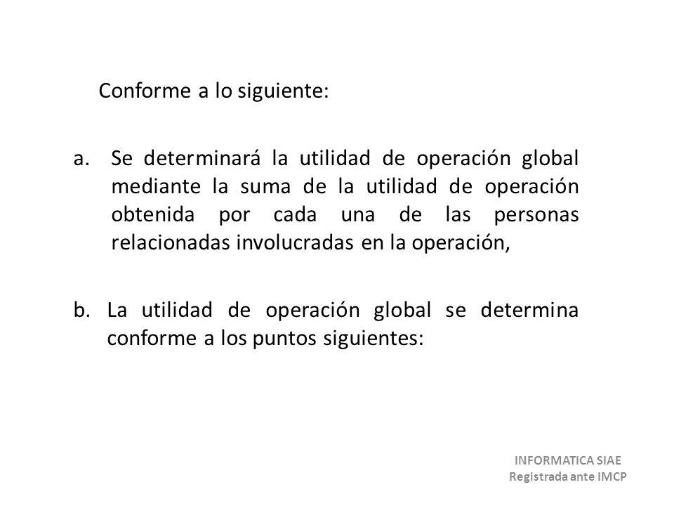 Conforme a lo siguiente: a.Se determinará la utilidad de operación global mediante la suma de la utilidad de operación obtenida por cada una de las pe