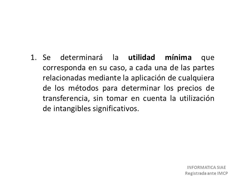 1.Se determinará la utilidad mínima que corresponda en su caso, a cada una de las partes relacionadas mediante la aplicación de cualquiera de los méto