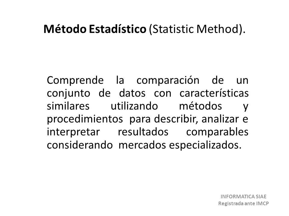 Método Estadístico (Statistic Method). Comprende la comparación de un conjunto de datos con características similares utilizando métodos y procedimien