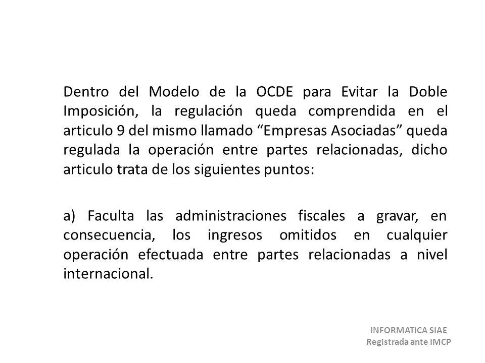 Dentro del Modelo de la OCDE para Evitar la Doble Imposición, la regulación queda comprendida en el articulo 9 del mismo llamado Empresas Asociadas qu