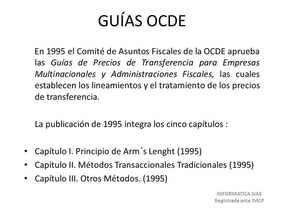 GUÍAS OCDE En 1995 el Comité de Asuntos Fiscales de la OCDE aprueba las Guías de Precios de Transferencia para Empresas Multinacionales y Administraci