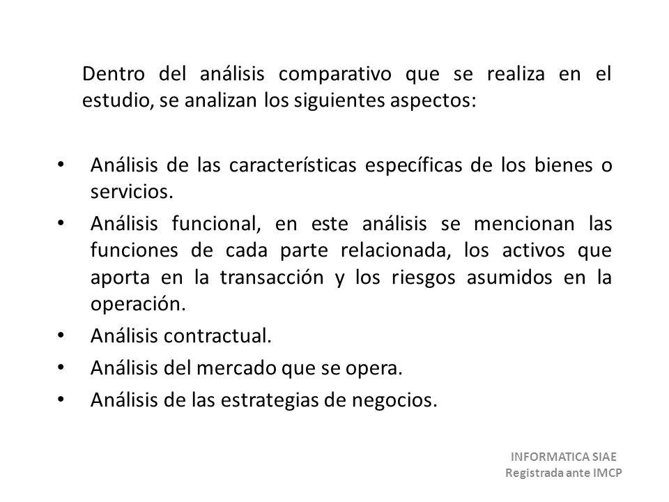 Dentro del análisis comparativo que se realiza en el estudio, se analizan los siguientes aspectos: Análisis de las características específicas de los