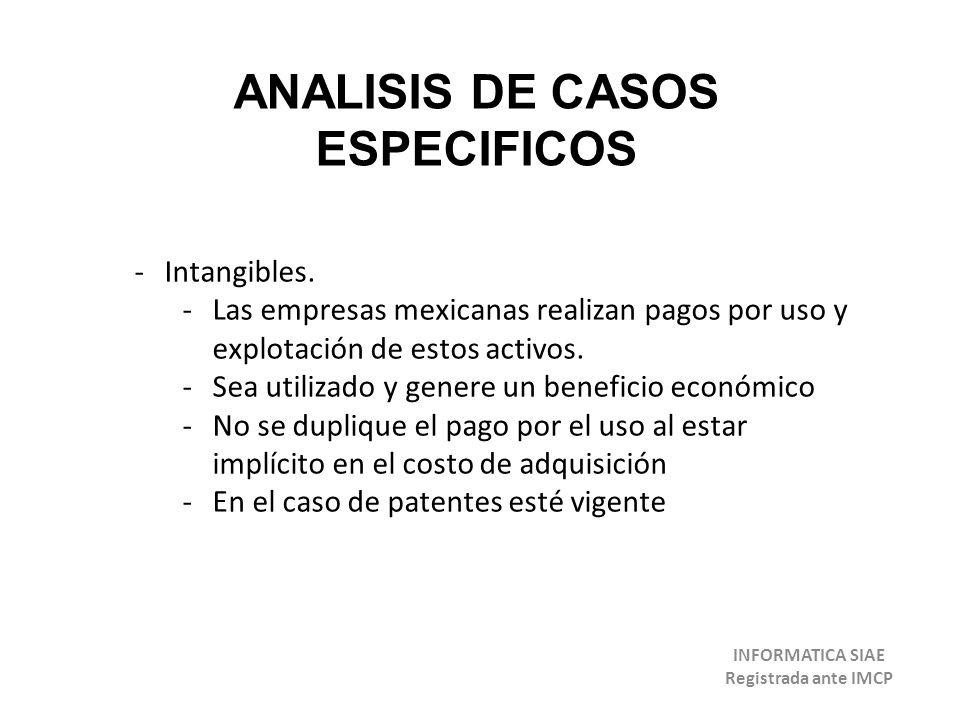 ANALISIS DE CASOS ESPECIFICOS -Intangibles. -Las empresas mexicanas realizan pagos por uso y explotación de estos activos. -Sea utilizado y genere un
