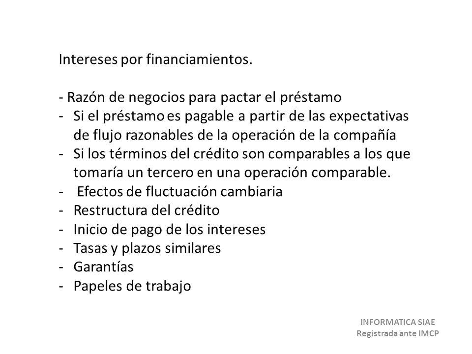 Intereses por financiamientos. - Razón de negocios para pactar el préstamo -Si el préstamo es pagable a partir de las expectativas de flujo razonables