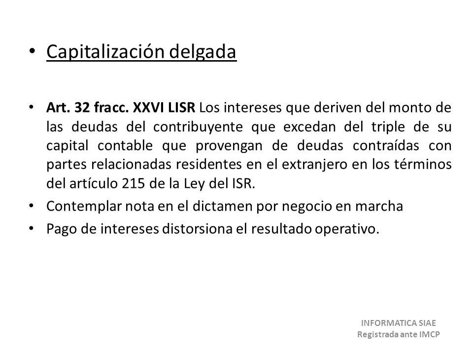 Capitalización delgada Art. 32 fracc. XXVI LISR Los intereses que deriven del monto de las deudas del contribuyente que excedan del triple de su capit