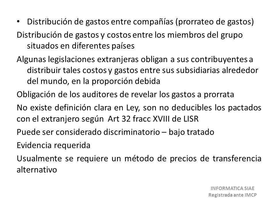 Distribución de gastos entre compañías (prorrateo de gastos) Distribución de gastos y costos entre los miembros del grupo situados en diferentes paíse