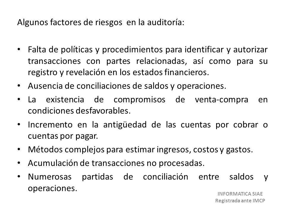 Algunos factores de riesgos en la auditoría: Falta de políticas y procedimientos para identificar y autorizar transacciones con partes relacionadas, a