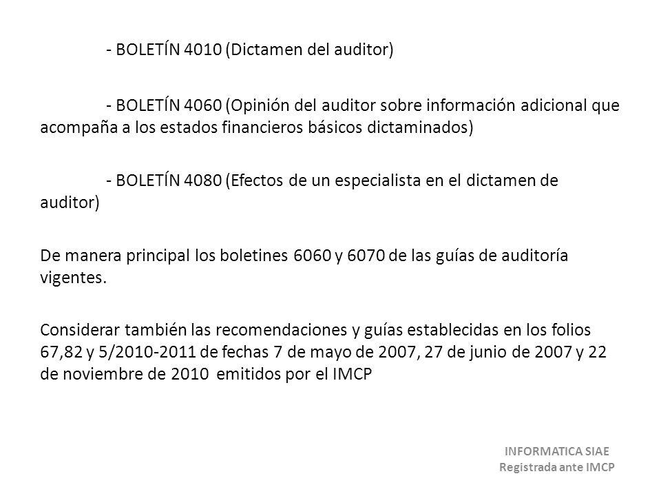 - BOLETÍN 4010 (Dictamen del auditor) - BOLETÍN 4060 (Opinión del auditor sobre información adicional que acompaña a los estados financieros básicos d