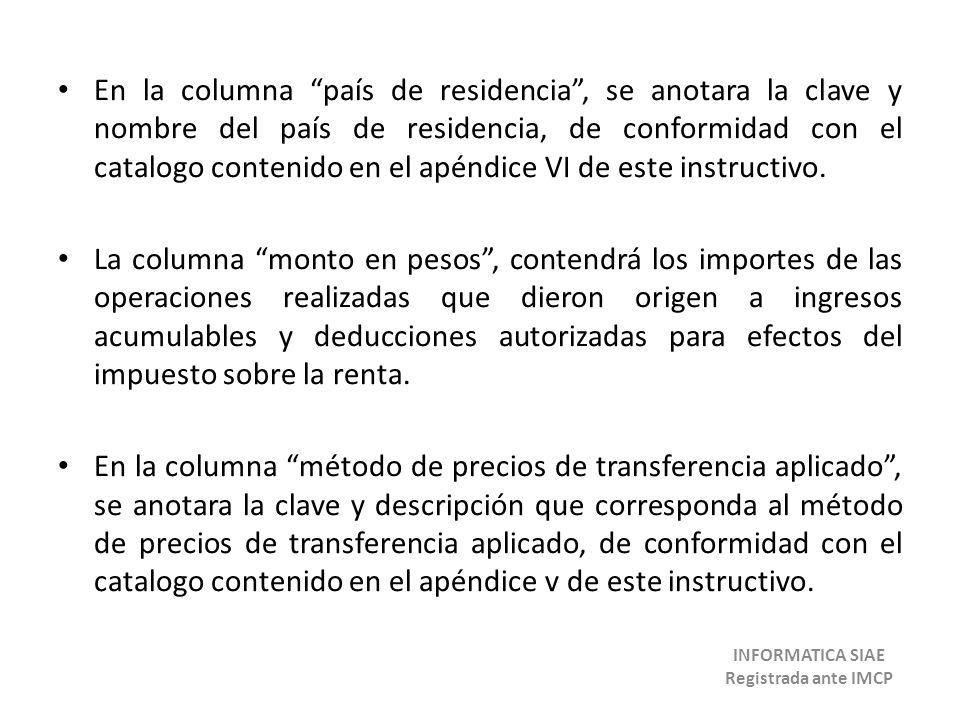 En la columna país de residencia, se anotara la clave y nombre del país de residencia, de conformidad con el catalogo contenido en el apéndice VI de e