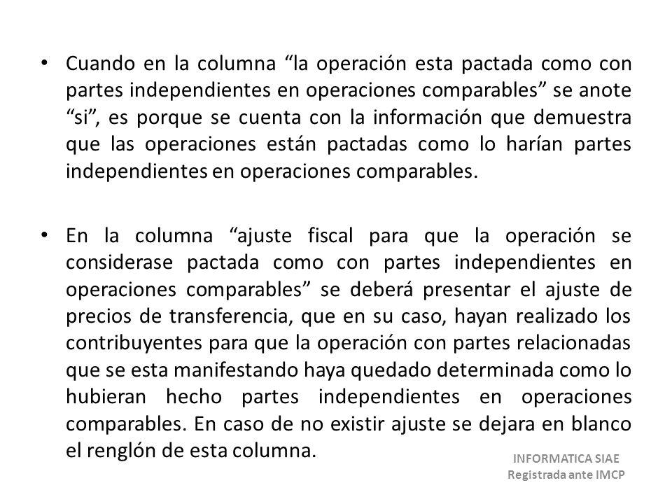 Cuando en la columna la operación esta pactada como con partes independientes en operaciones comparables se anote si, es porque se cuenta con la infor