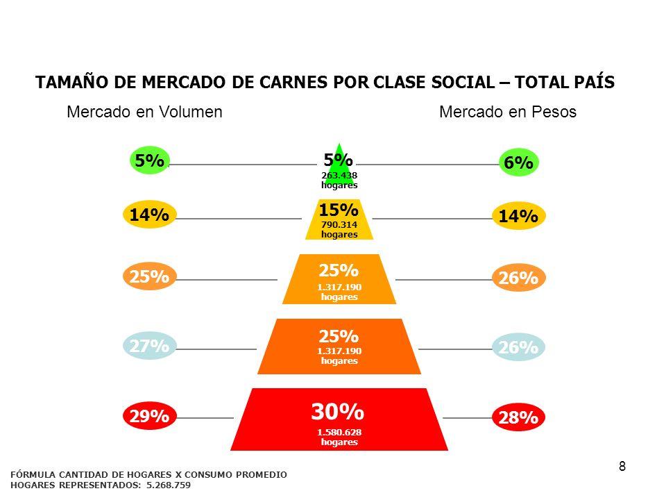 8 TAMAÑO DE MERCADO DE CARNES POR CLASE SOCIAL – TOTAL PAÍS FÓRMULA CANTIDAD DE HOGARES X CONSUMO PROMEDIO 5% 15% 30% 25% 263.438 hogares 790.314 hoga
