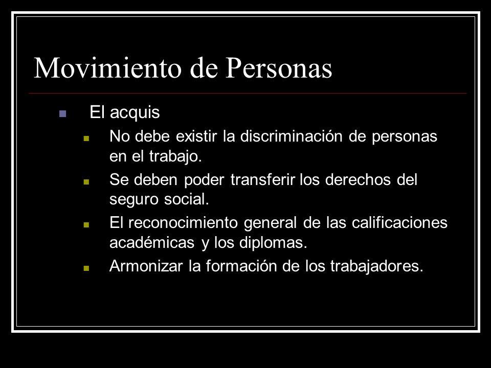 Movimiento de Personas El acquis No debe existir la discriminación de personas en el trabajo. Se deben poder transferir los derechos del seguro social