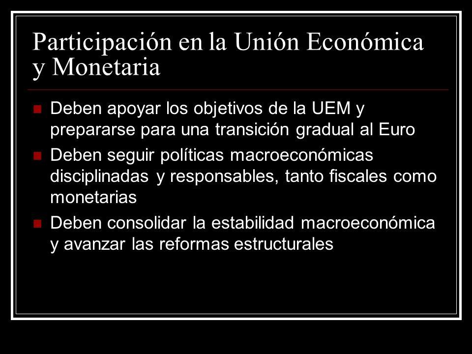 Participación en la Unión Económica y Monetaria Deben apoyar los objetivos de la UEM y prepararse para una transición gradual al Euro Deben seguir pol