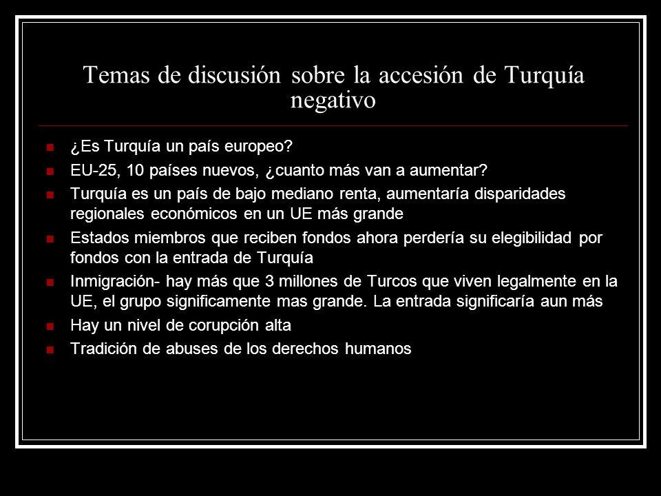 Temas de discusión sobre la accesión de Turquía negativo ¿Es Turquía un país europeo? EU-25, 10 países nuevos, ¿cuanto más van a aumentar? Turquía es