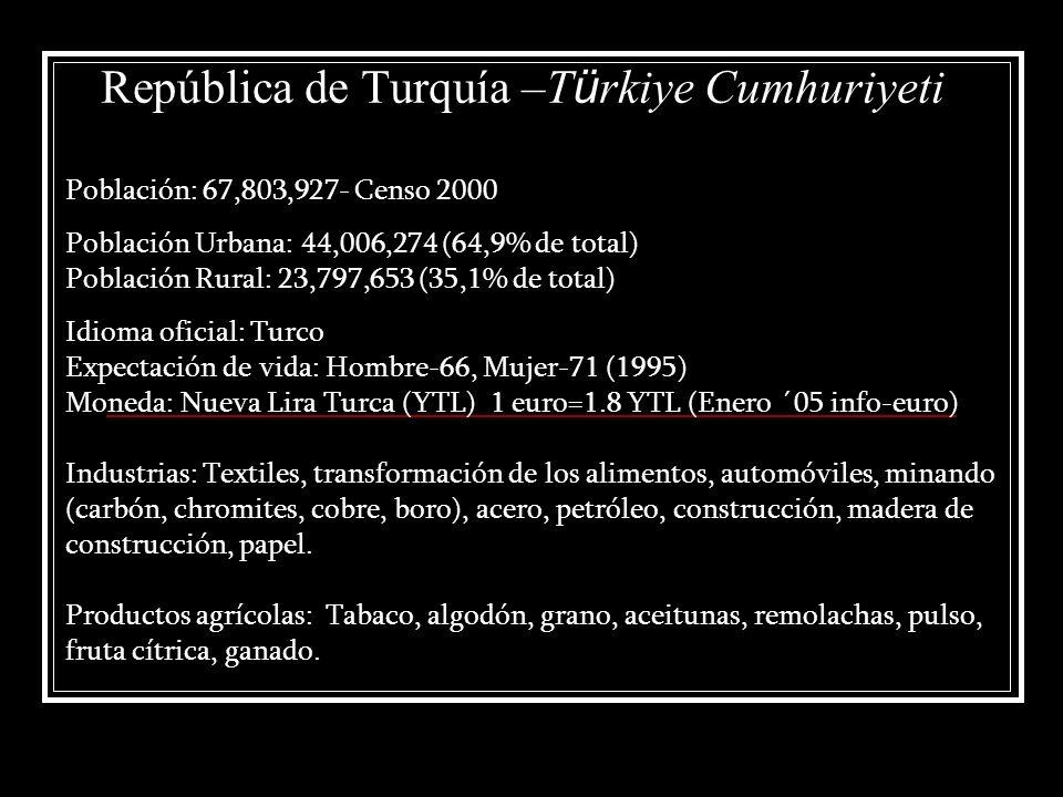 República de Turquía –T ü rkiye Cumhuriyeti Población: 67,803,927- Censo 2000 Población Urbana: 44,006,274 (64,9% de total) Población Rural: 23,797,65