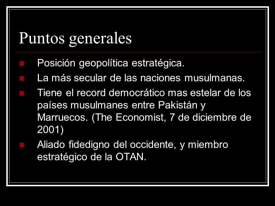 Puntos generales Posición geopolítica estratégica. La más secular de las naciones musulmanas. Tiene el record democrático mas estelar de los países mu