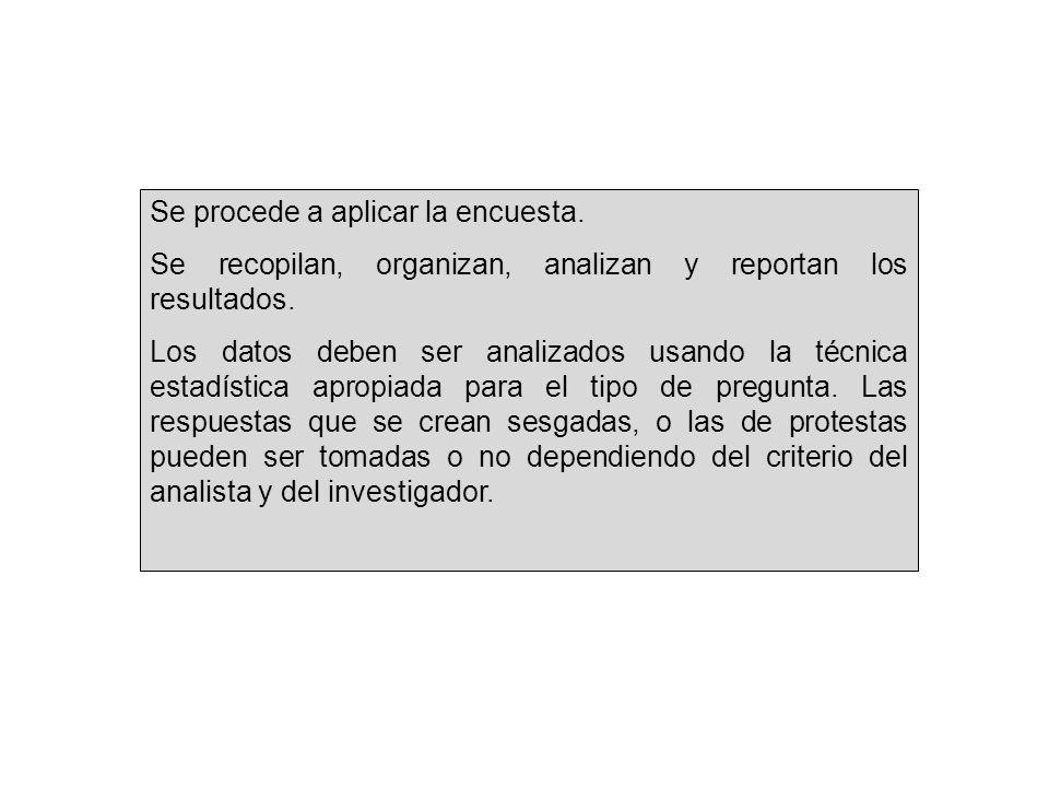 Se procede a aplicar la encuesta. Se recopilan, organizan, analizan y reportan los resultados.