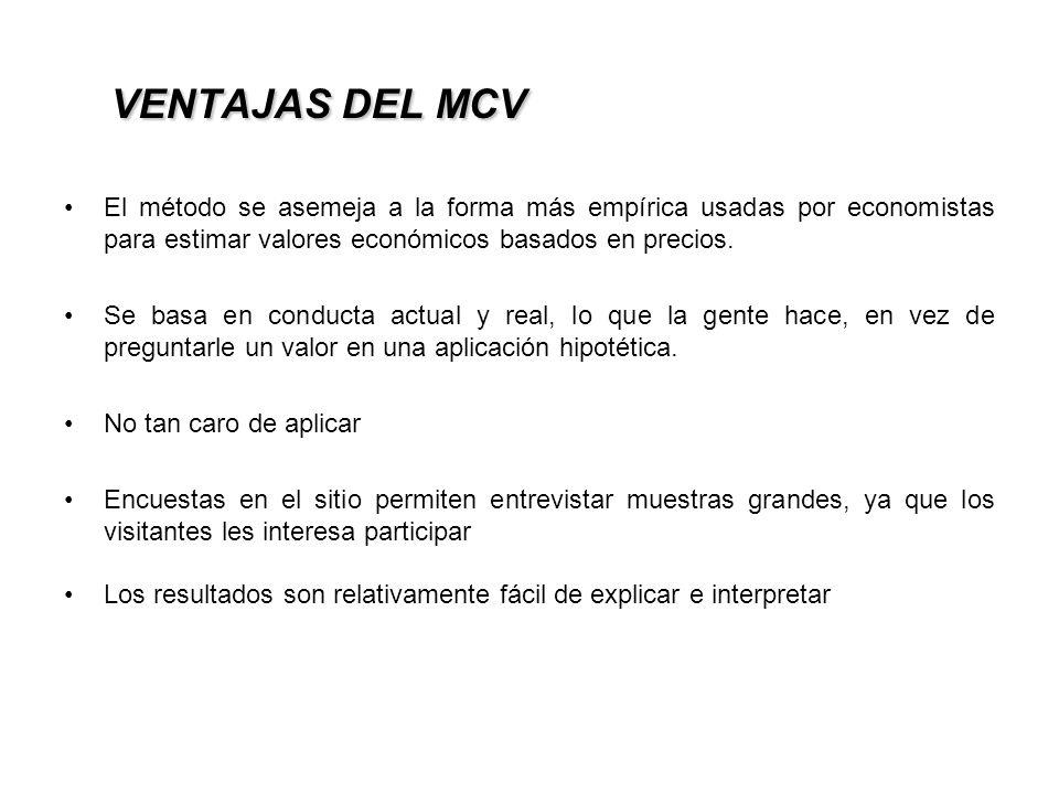 VENTAJAS DEL MCV El método se asemeja a la forma más empírica usadas por economistas para estimar valores económicos basados en precios.