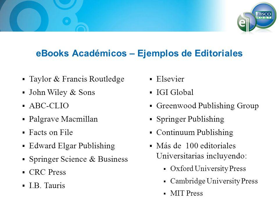 eBook Collection en EBSCOHost Todas las compras o suscripciones de libros electrónicos se organizan en una colección o base de datos que se llama eBook Collection y se acceden mediante la plataforma EBSCOHost.