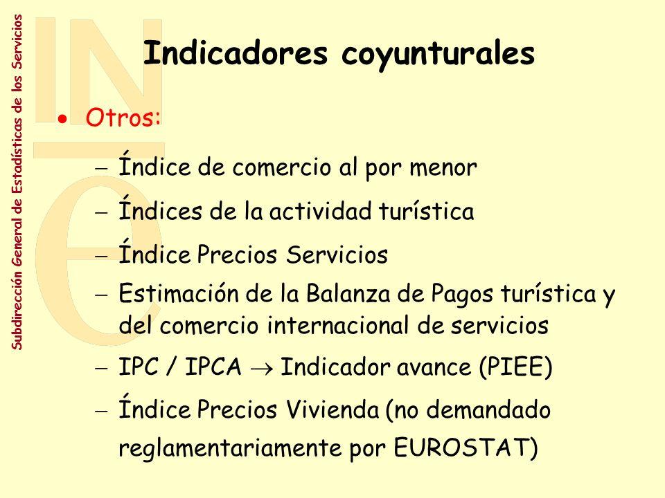 Subdirección General de Estadísticas de los Servicios Indicadores coyunturales Objetivo: acelerar la implantación del Reglamento de E.C.