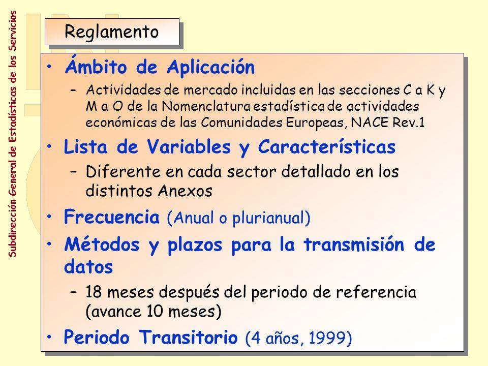 Subdirección General de Estadísticas de los Servicios REGLAMENTO Nº 58/97 (20 Diciembre de 1996) RELATIVO A LAS ESTADÍSTICAS ESTRUCTURALES DE LAS EMPRESAS REGLAMENTO Nº 58/97 (20 Diciembre de 1996) RELATIVO A LAS ESTADÍSTICAS ESTRUCTURALES DE LAS EMPRESAS Establecer un marco común para la recopilación, elaboración, transmisión y evaluación de estadísticas comunitarias sobre la estructura, actividad, competitividad y rendimiento de las empresas en la Comunidad.