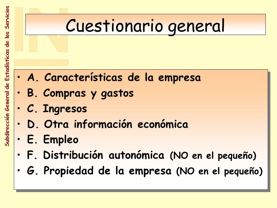 Subdirección General de Estadísticas de los Servicios Cuestionarios Cuestionario general.