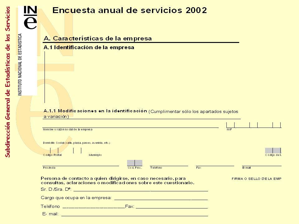 Subdirección General de Estadísticas de los Servicios Cuestionario general A.