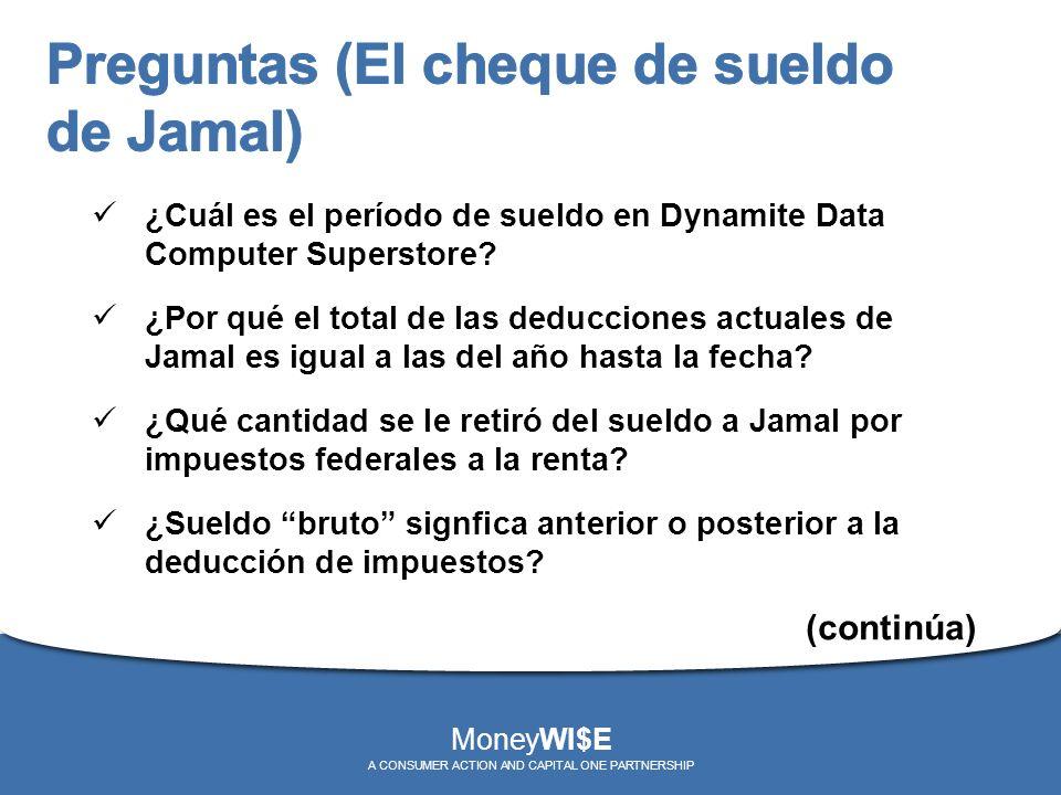 ¿Cuál es el período de sueldo en Dynamite Data Computer Superstore? ¿Por qué el total de las deducciones actuales de Jamal es igual a las del año hast