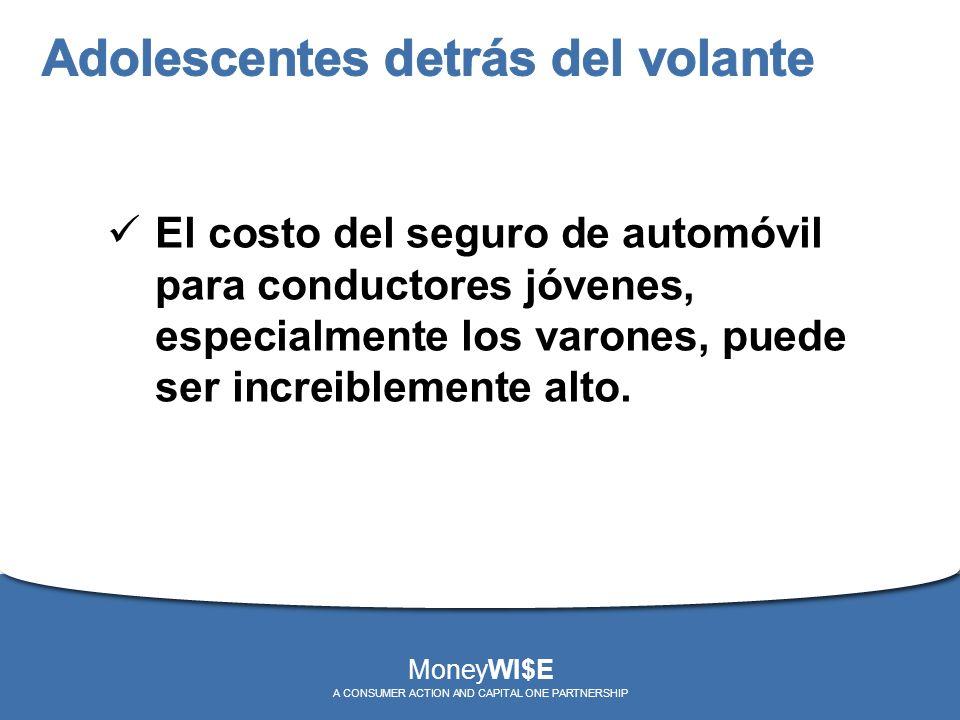 El costo del seguro de automóvil para conductores jóvenes, especialmente los varones, puede ser increiblemente alto. MoneyWI$E A CONSUMER ACTION AND C