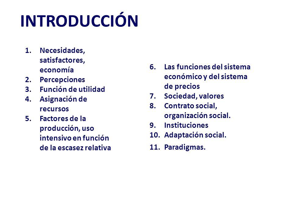 INTRODUCCIÓN 6.Las funciones del sistema económico y del sistema de precios 7.Sociedad, valores 8.Contrato social, organización social.