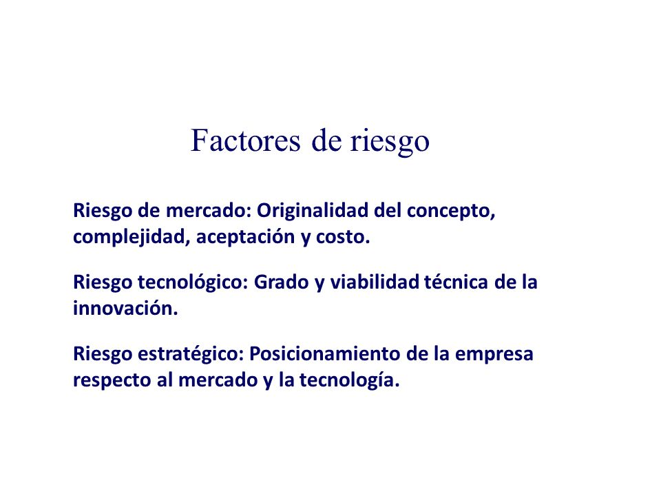 Necesidad existente. Componentes de una innovación Concepto. Ingredientes (inputs).