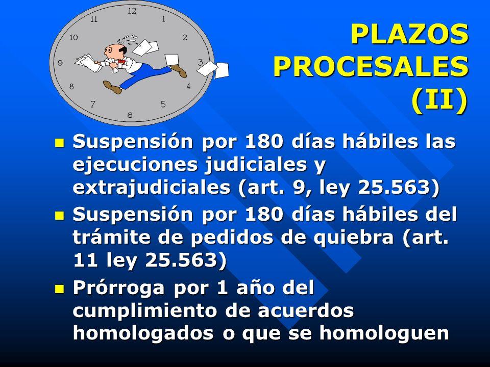 PLAZOS PROCESALES 180 días hábiles plazo de exclusividad (arts. 43, 273, inc. 2 ley 24.522 y 2 de la ley 25.563) 180 días hábiles plazo de exclusivida