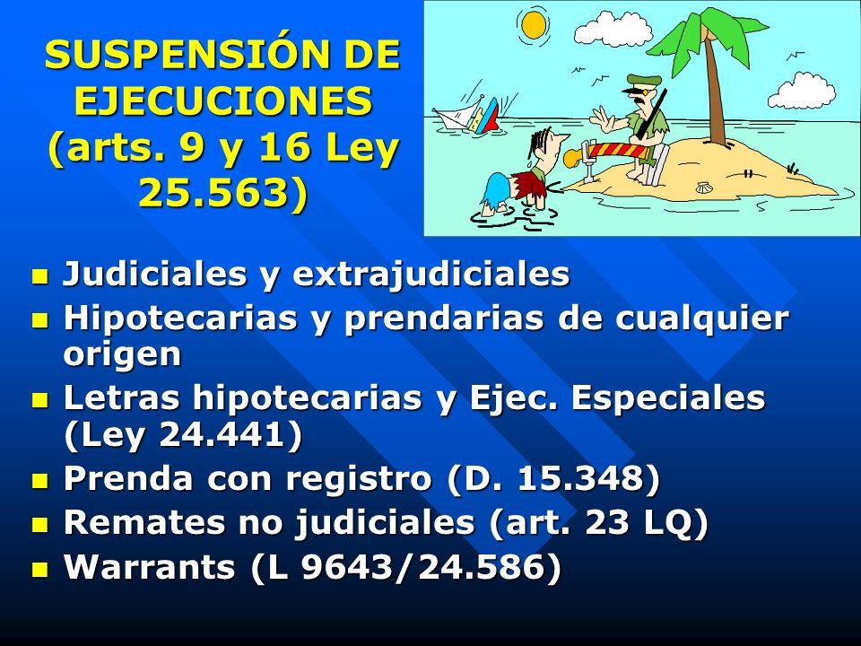 PLAZOS PROCESALES (II) Suspensión por 180 días hábiles las ejecuciones judiciales y extrajudiciales (art. 9, ley 25.563) Suspensión por 180 días hábil
