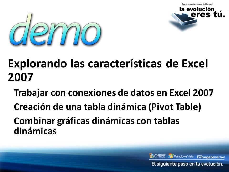 Explorando las características de Excel 2007 Trabajar con conexiones de datos en Excel 2007 Creación de una tabla dinámica (Pivot Table) Combinar gráf
